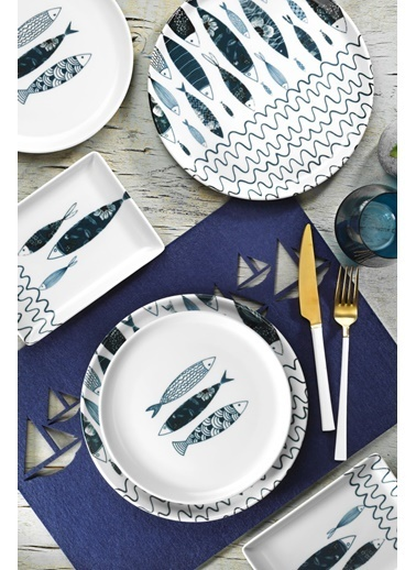 Porland Porland Fish 18 Parça Sunum Ve Kahvaltı Seti Renkli